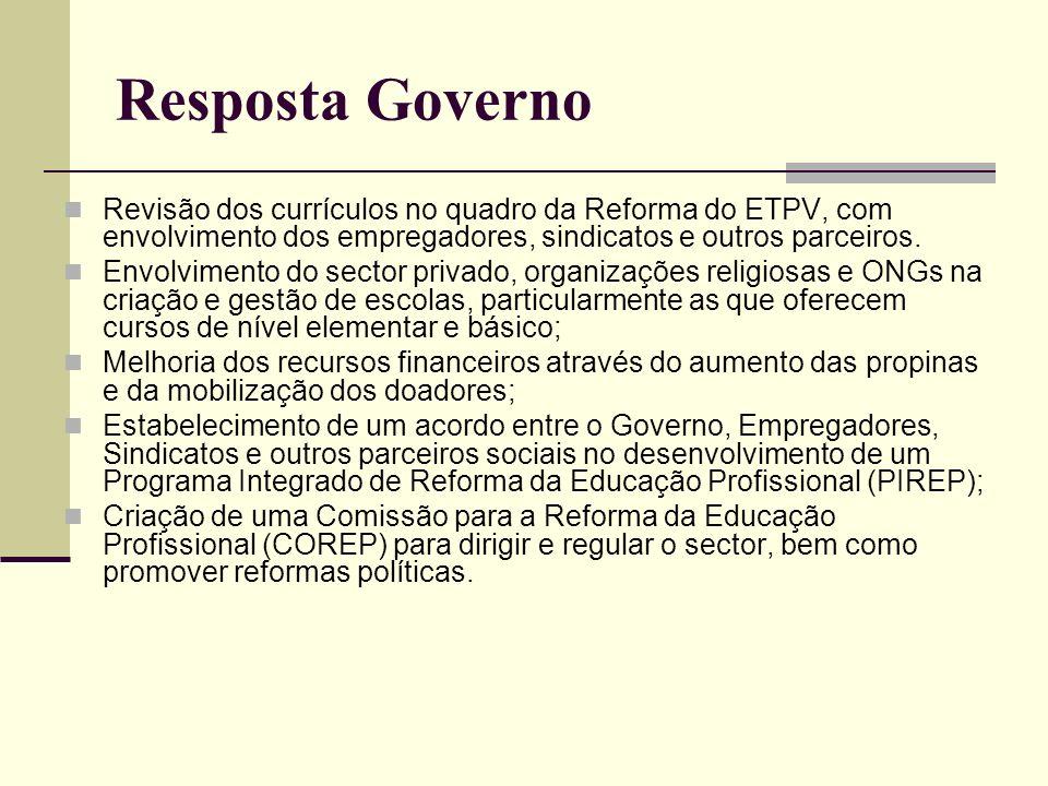 Resposta Governo Revisão dos currículos no quadro da Reforma do ETPV, com envolvimento dos empregadores, sindicatos e outros parceiros.