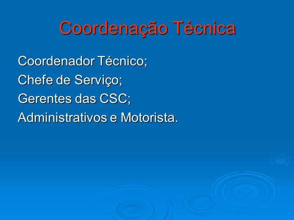 Coordenação Técnica Coordenador Técnico; Chefe de Serviço;