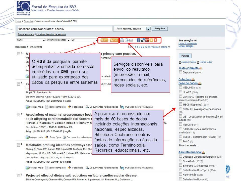 Serviços disponíveis para envio do resultado (impressão, e-mail, gerenciador de referências, redes sociais, etc.