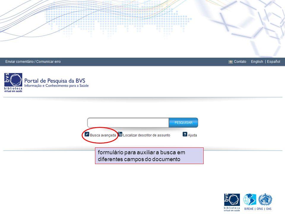 formulário para auxiliar a busca em diferentes campos do documento