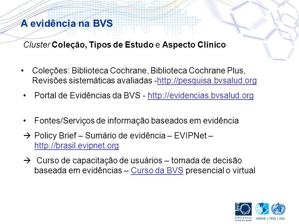 A evidência na BVS Cluster Coleção, Tipos de Estudo e Aspecto Clínico