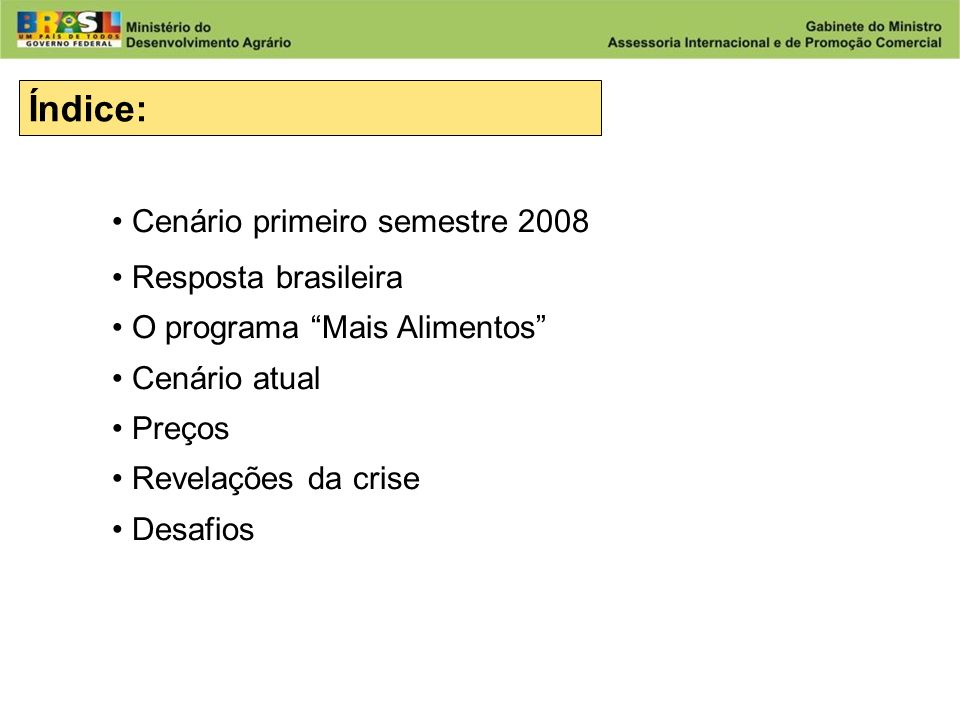 Índice: Cenário primeiro semestre 2008 Resposta brasileira
