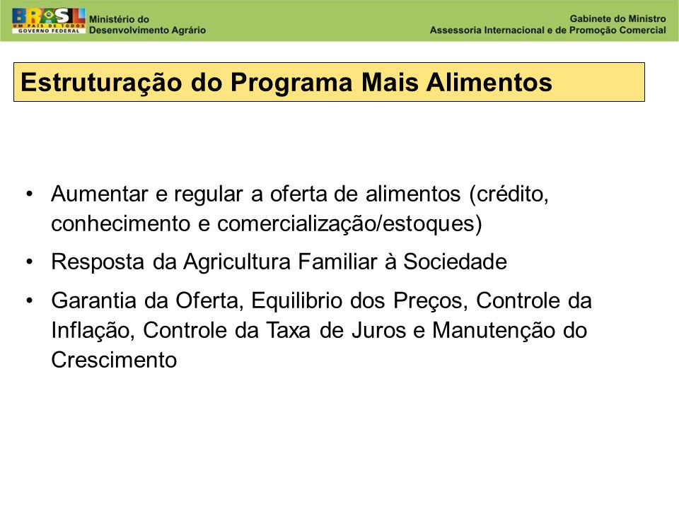 Estruturação do Programa Mais Alimentos