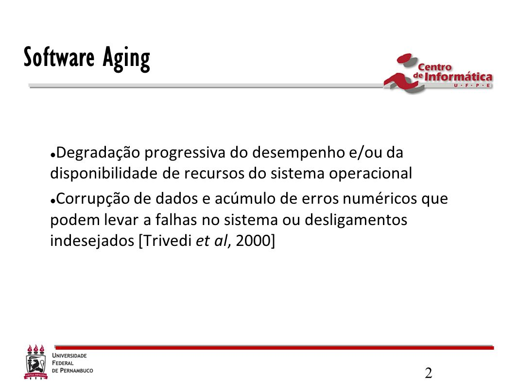 Software Aging Degradação progressiva do desempenho e/ou da disponibilidade de recursos do sistema operacional.