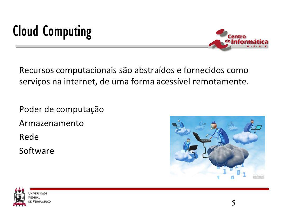 Cloud Computing Recursos computacionais são abstraídos e fornecidos como serviços na internet, de uma forma acessível remotamente.