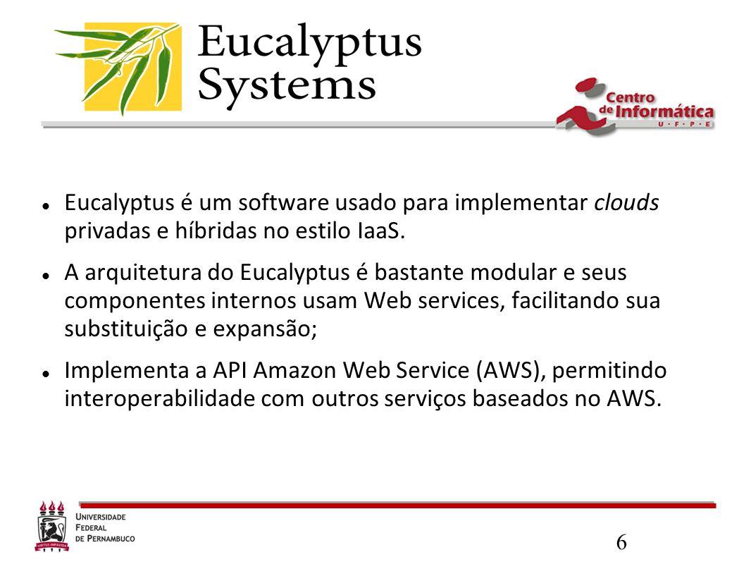 Eucalyptus é um software usado para implementar clouds privadas e híbridas no estilo IaaS.