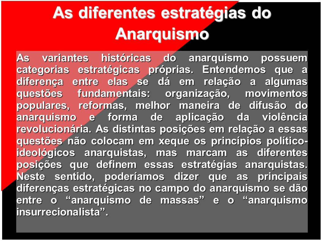 As diferentes estratégias do Anarquismo