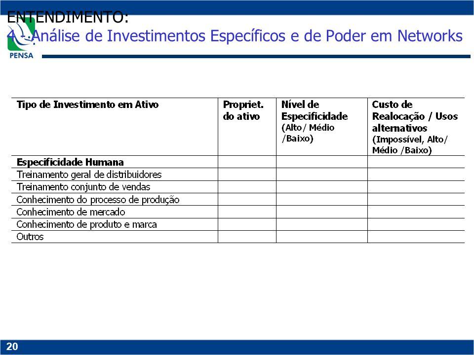 ENTENDIMENTO: 4 - Análise de Investimentos Específicos e de Poder em Networks