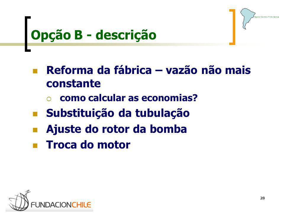 Opção B - descrição Reforma da fábrica – vazão não mais constante