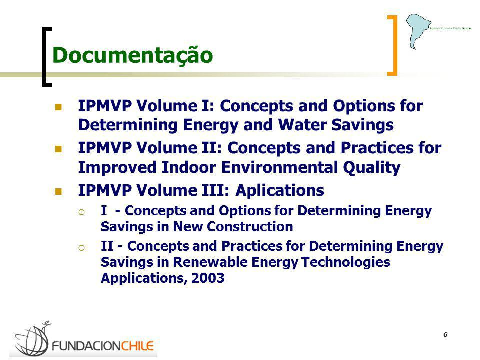 Documentação IPMVP Volume I: Concepts and Options for Determining Energy and Water Savings.