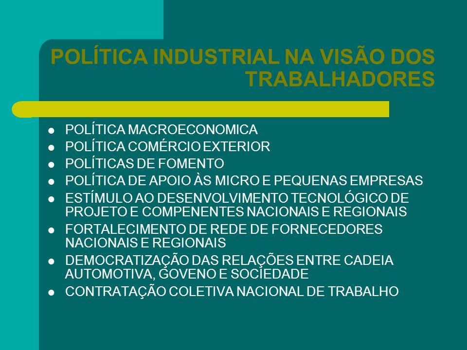 POLÍTICA INDUSTRIAL NA VISÃO DOS TRABALHADORES