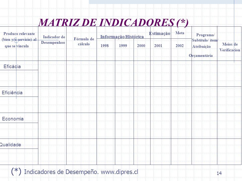 MATRIZ DE INDICADORES (*)