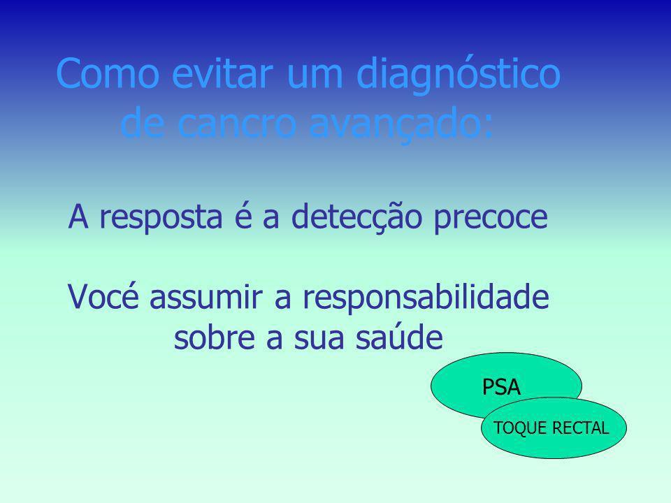 Como evitar um diagnóstico de cancro avançado: A resposta é a detecção precoce Vocé assumir a responsabilidade sobre a sua saúde