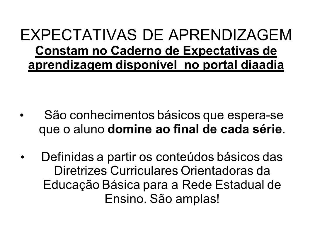 EXPECTATIVAS DE APRENDIZAGEM Constam no Caderno de Expectativas de aprendizagem disponível no portal diaadia