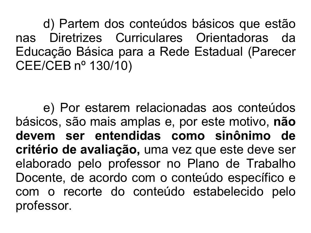d) Partem dos conteúdos básicos que estão nas Diretrizes Curriculares Orientadoras da Educação Básica para a Rede Estadual (Parecer CEE/CEB nº 130/10)