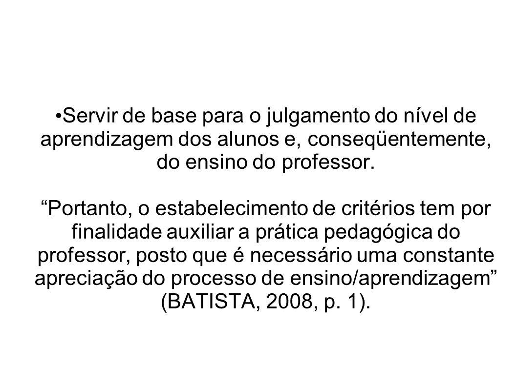 Servir de base para o julgamento do nível de aprendizagem dos alunos e, conseqüentemente, do ensino do professor.