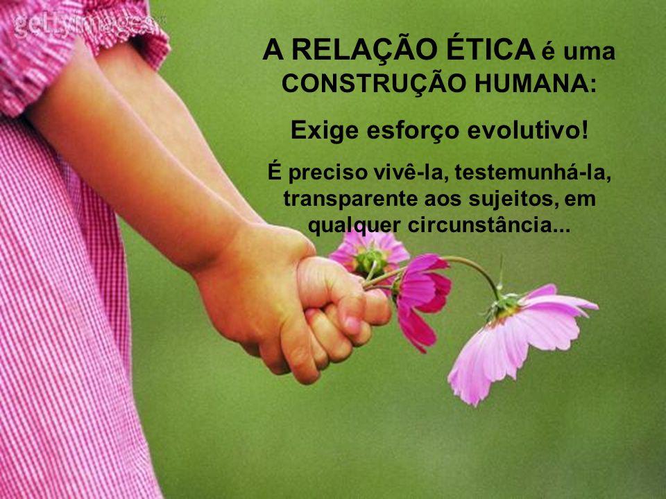 A RELAÇÃO ÉTICA é uma CONSTRUÇÃO HUMANA: Exige esforço evolutivo!