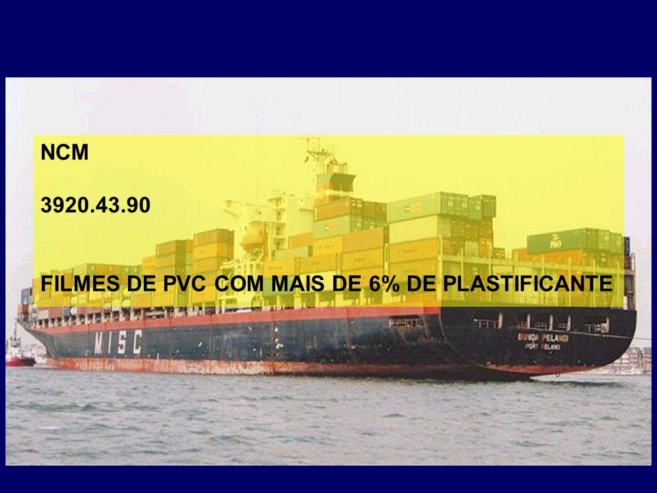 NCM 3920.43.90 FILMES DE PVC COM MAIS DE 6% DE PLASTIFICANTE