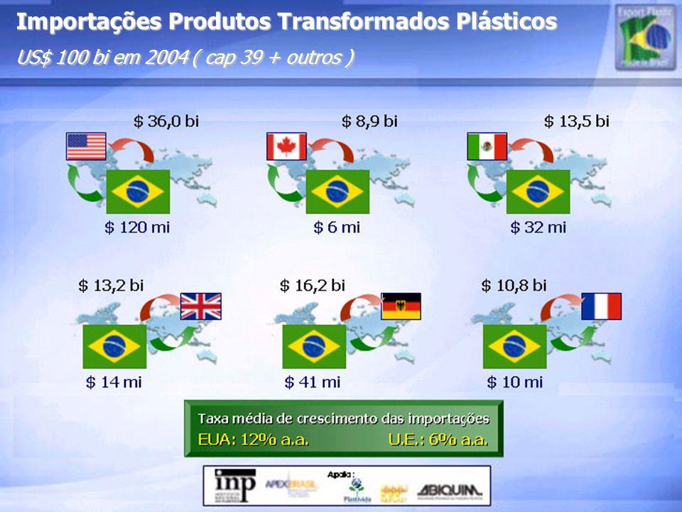 Importações Produtos Transformados Plásticos US$ 100 bi em 2004 ( cap 39 + outros )