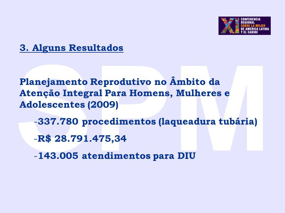 SPM 3. Alguns Resultados. Planejamento Reprodutivo no Âmbito da Atenção Integral Para Homens, Mulheres e Adolescentes (2009)