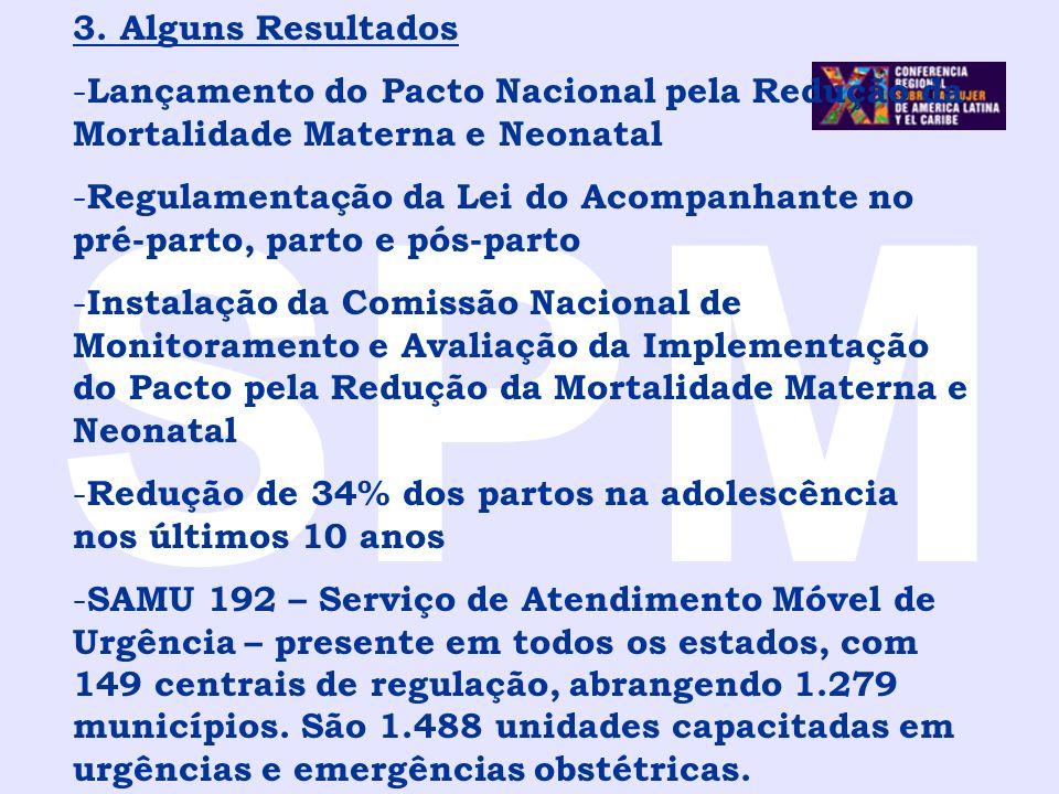 SPM 3. Alguns Resultados. Lançamento do Pacto Nacional pela Redução da Mortalidade Materna e Neonatal.