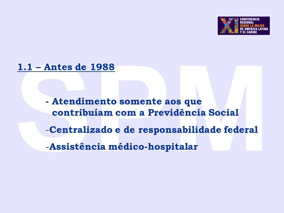 SPM1.1 – Antes de 1988. - Atendimento somente aos que contribuíam com a Previdência Social. Centralizado e de responsabilidade federal.