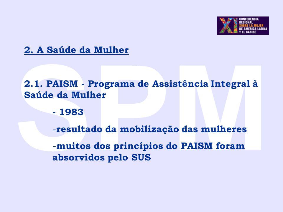 SPM2. A Saúde da Mulher. 2.1. PAISM - Programa de Assistência Integral à Saúde da Mulher. - 1983. resultado da mobilização das mulheres.