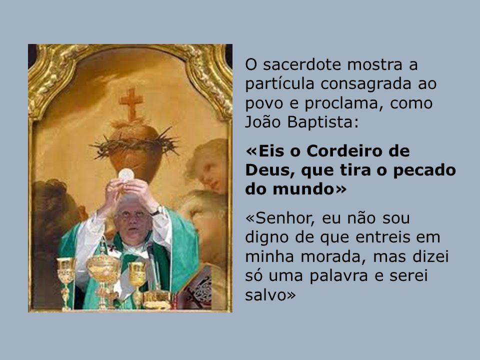 O sacerdote mostra a partícula consagrada ao povo e proclama, como João Baptista: