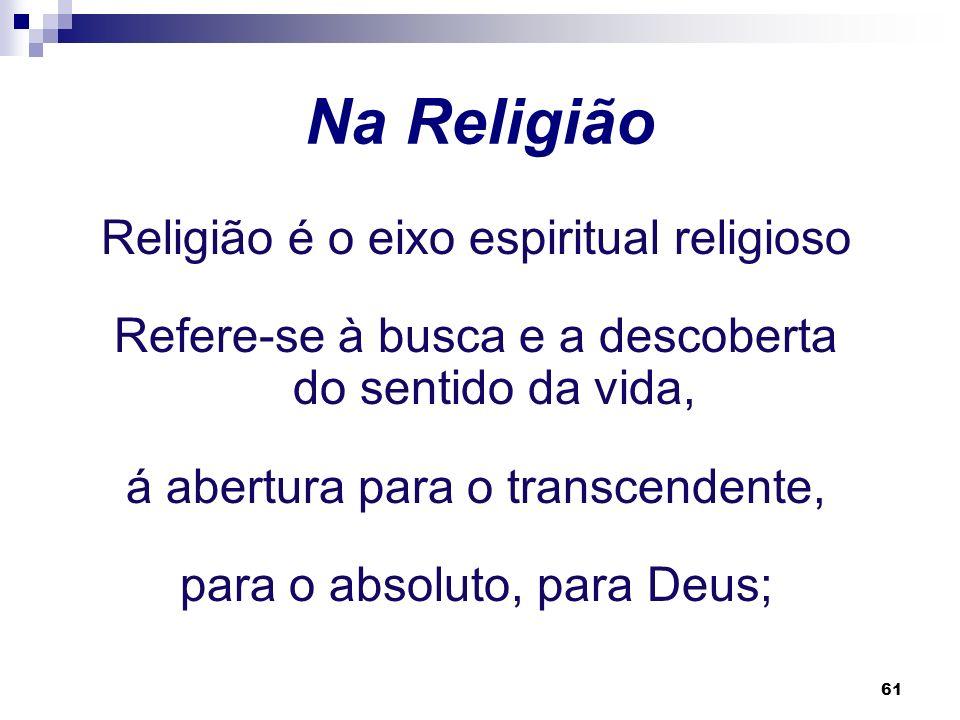 Na Religião Religião é o eixo espiritual religioso