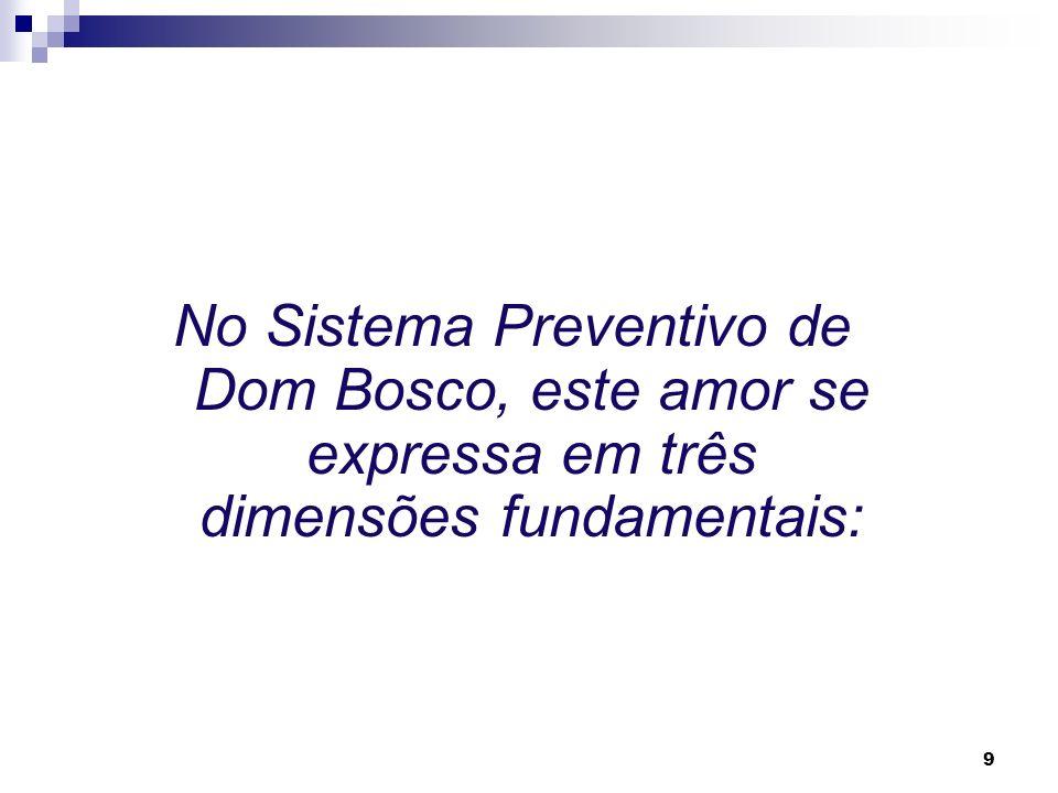No Sistema Preventivo de Dom Bosco, este amor se expressa em três dimensões fundamentais: