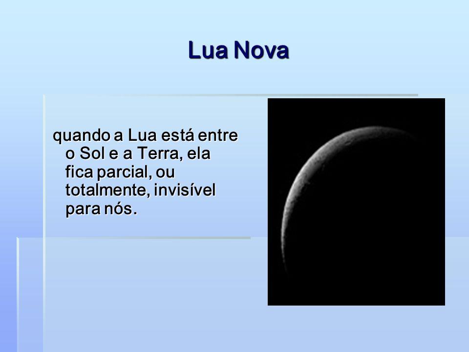 Lua Nova quando a Lua está entre o Sol e a Terra, ela fica parcial, ou totalmente, invisível para nós.