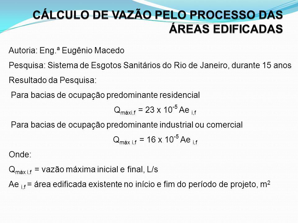 CÁLCULO DE VAZÃO PELO PROCESSO DAS ÁREAS EDIFICADAS
