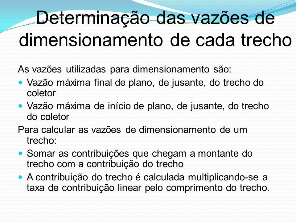 Determinação das vazões de dimensionamento de cada trecho