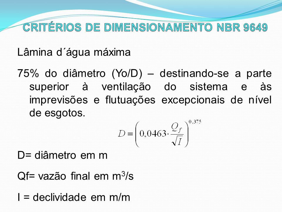 CRITÉRIOS DE DIMENSIONAMENTO NBR 9649