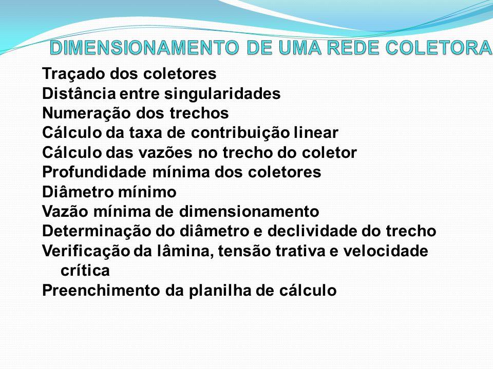 DIMENSIONAMENTO DE UMA REDE COLETORA