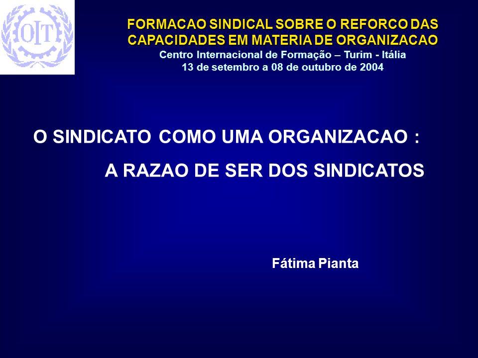 O SINDICATO COMO UMA ORGANIZACAO : A RAZAO DE SER DOS SINDICATOS
