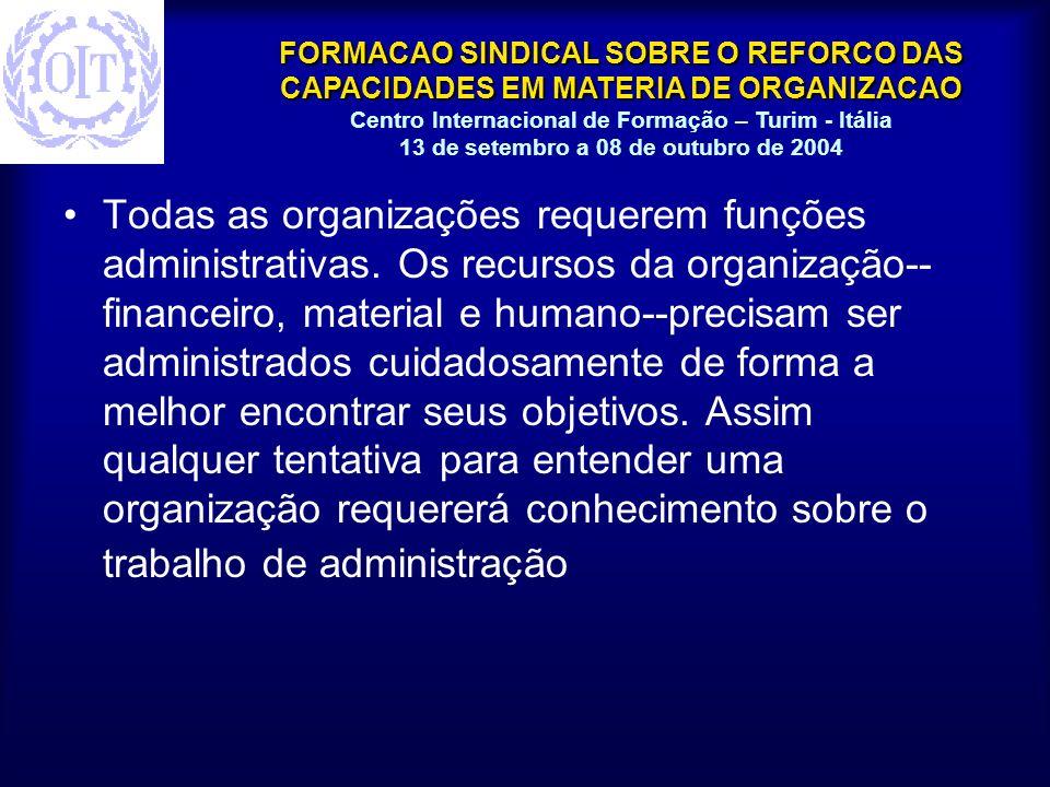 Todas as organizações requerem funções administrativas