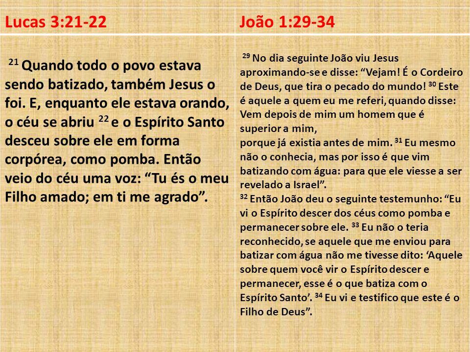 Lucas 3:21-22João 1:29-34.