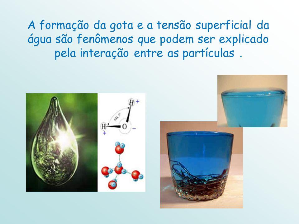 A formação da gota e a tensão superficial da água são fenômenos que podem ser explicado pela interação entre as partículas .