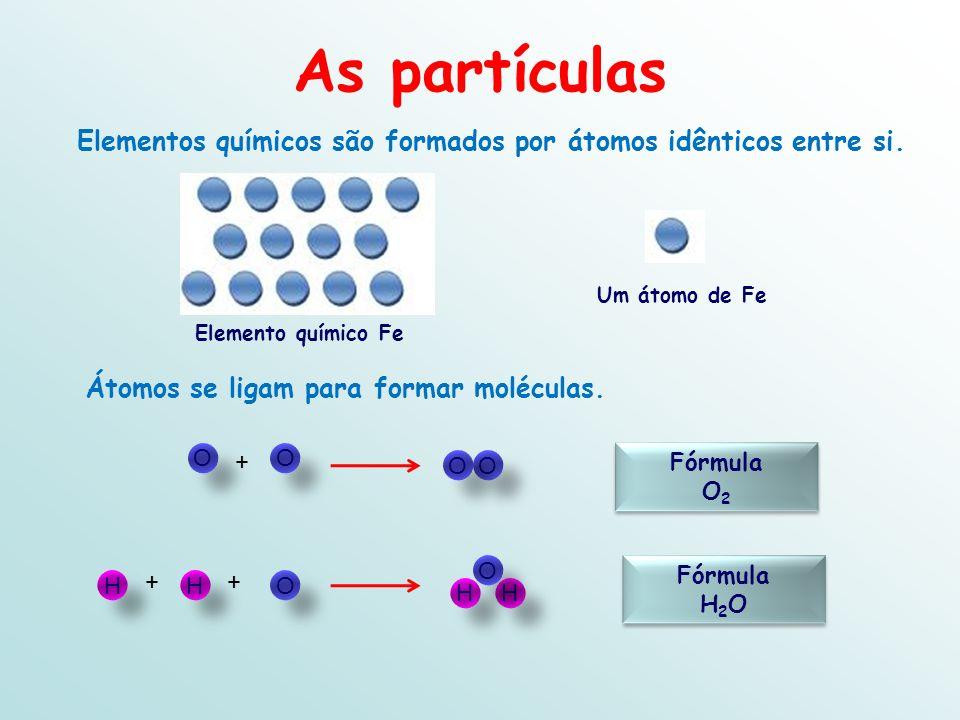 Elementos químicos são formados por átomos idênticos entre si.