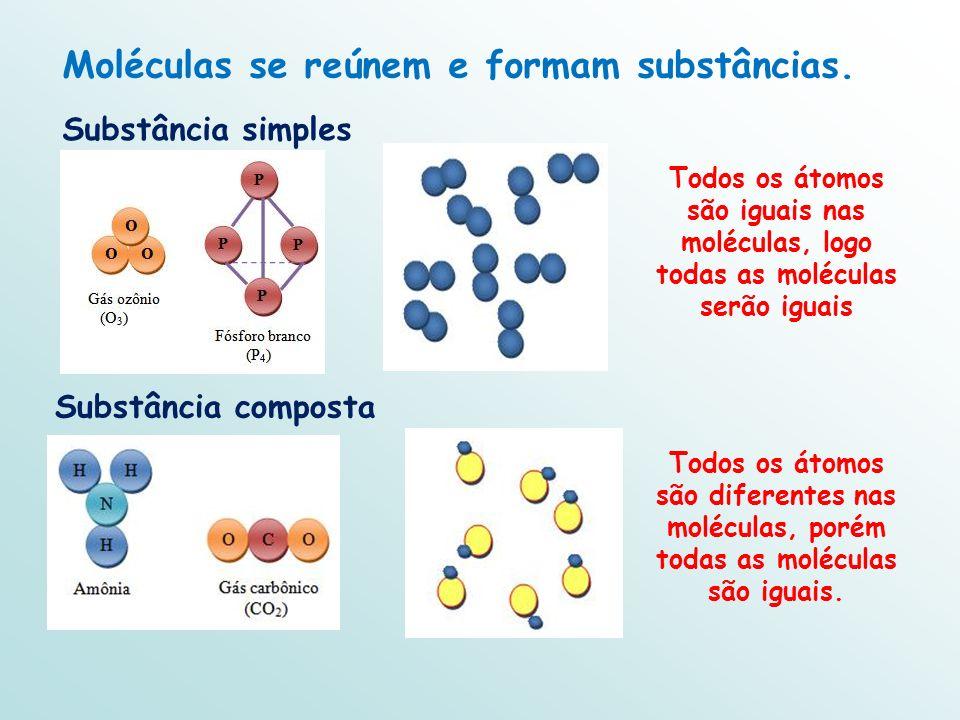 Moléculas se reúnem e formam substâncias.