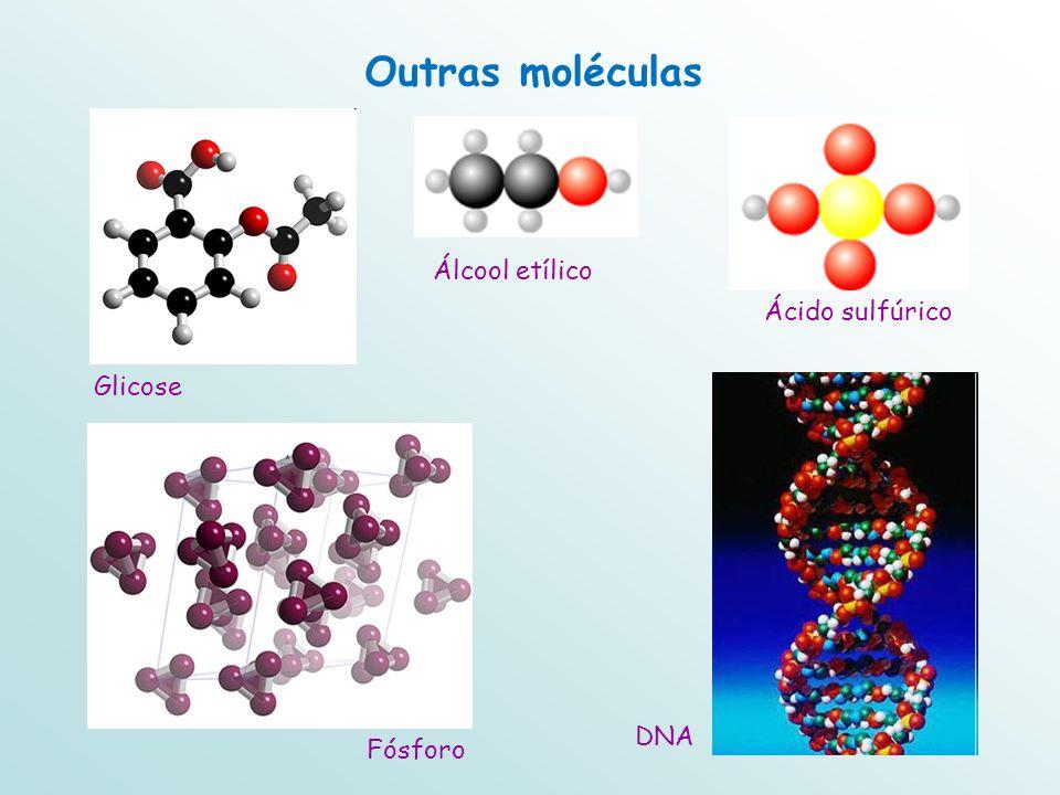 Outras moléculas Álcool etílico Ácido sulfúrico Glicose DNA Fósforo