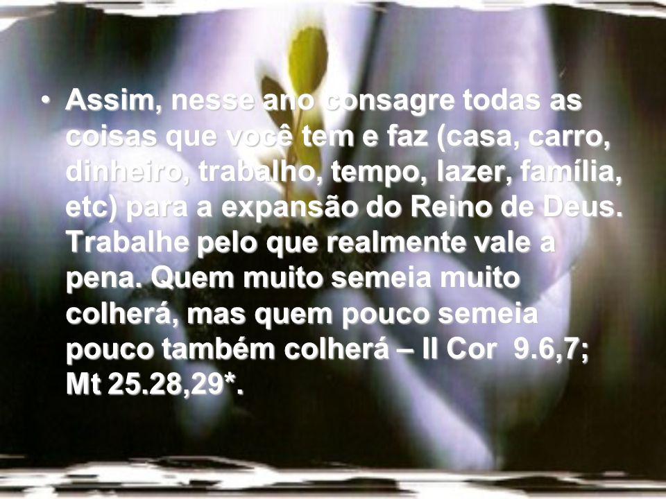 Assim, nesse ano consagre todas as coisas que você tem e faz (casa, carro, dinheiro, trabalho, tempo, lazer, família, etc) para a expansão do Reino de Deus.