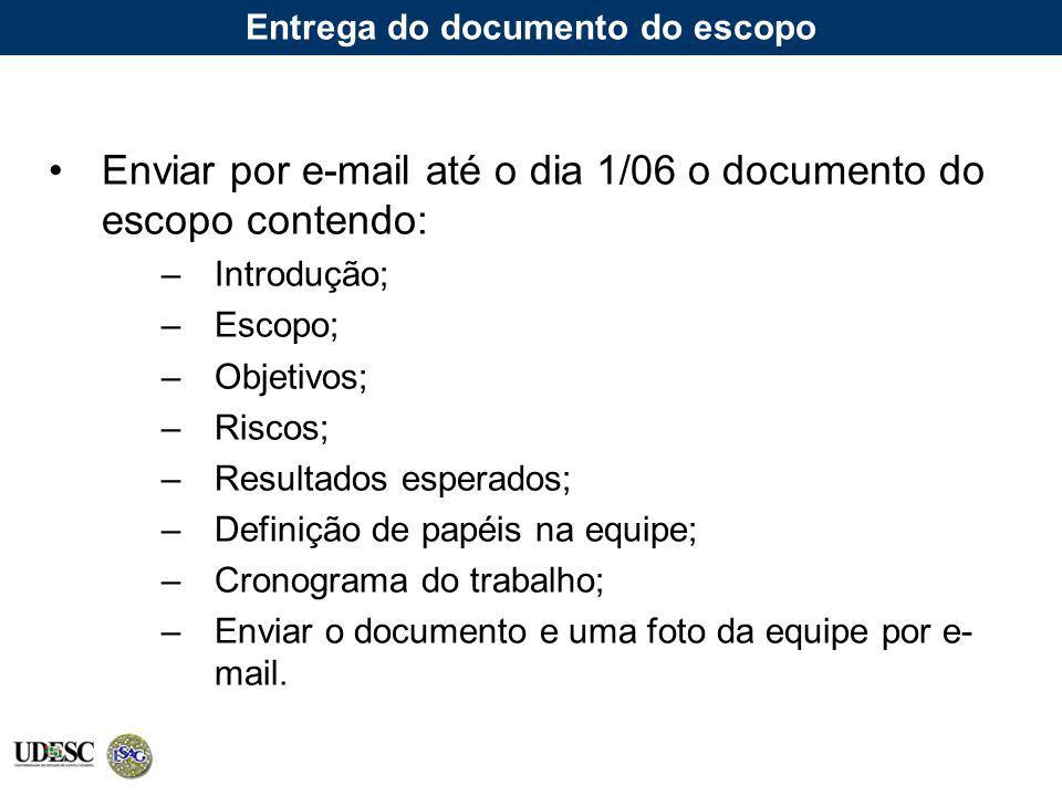 Entrega do documento do escopo