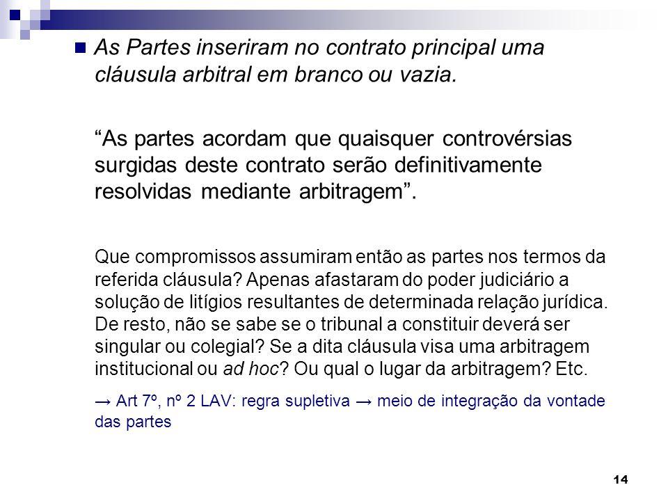  As Partes inseriram no contrato principal uma cláusula arbitral em branco ou vazia.