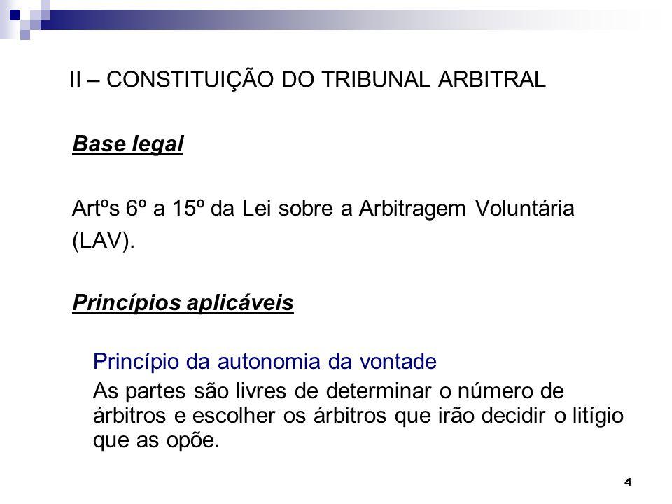 II – CONSTITUIÇÃO DO TRIBUNAL ARBITRAL