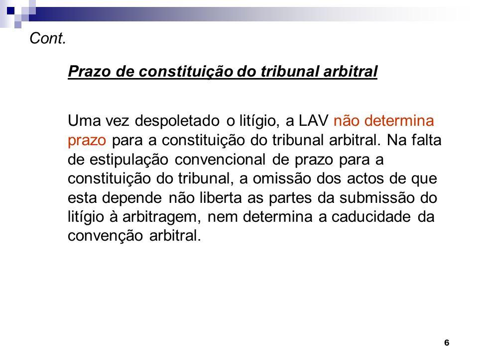 Cont. Prazo de constituição do tribunal arbitral.