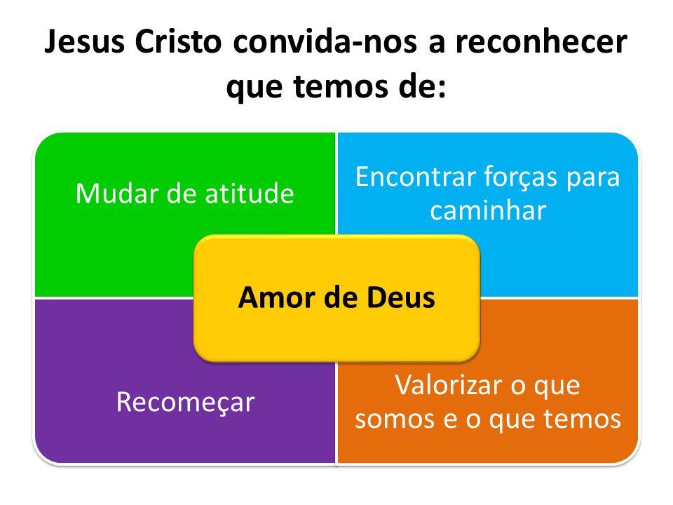 Jesus Cristo convida-nos a reconhecer que temos de: