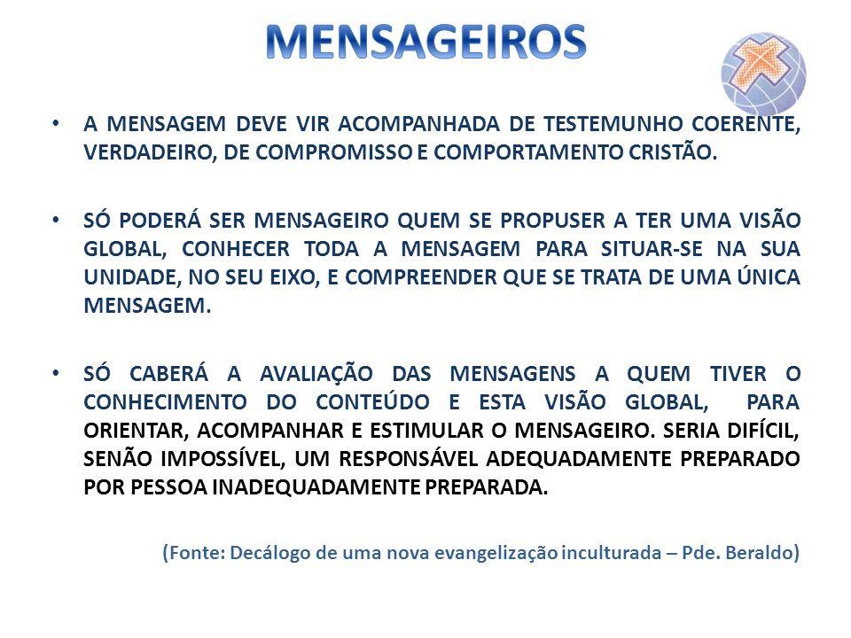 MENSAGEIROS A MENSAGEM DEVE VIR ACOMPANHADA DE TESTEMUNHO COERENTE, VERDADEIRO, DE COMPROMISSO E COMPORTAMENTO CRISTÃO.