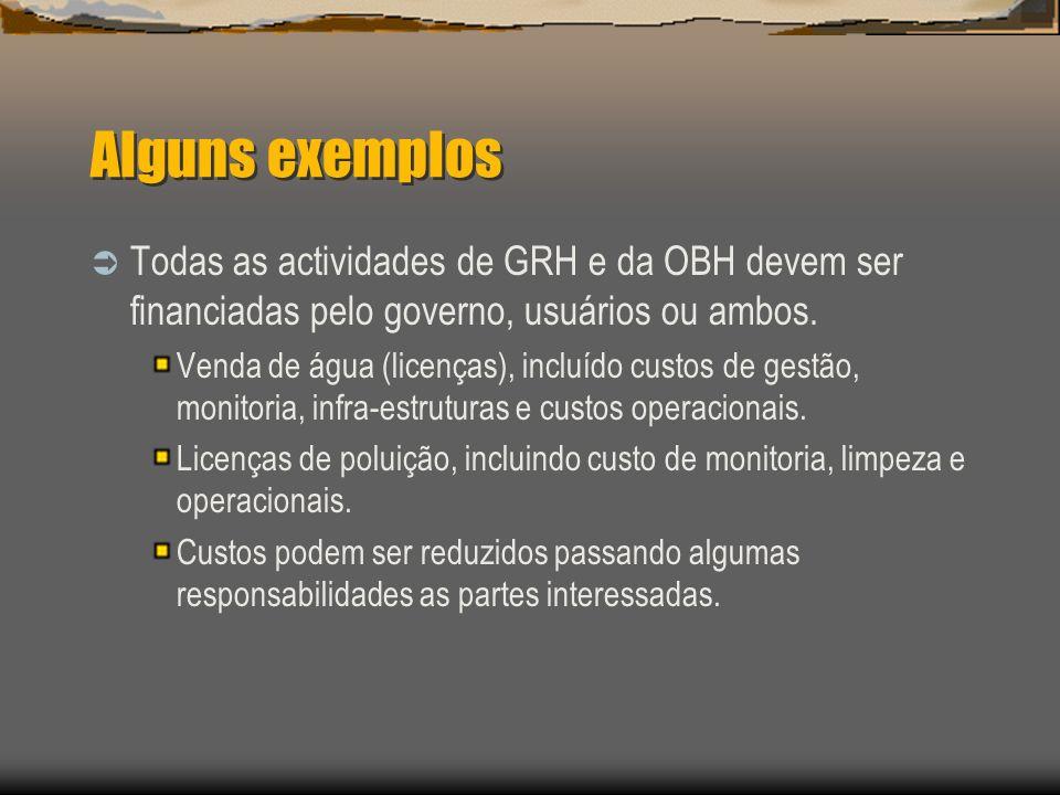 Alguns exemplos Todas as actividades de GRH e da OBH devem ser financiadas pelo governo, usuários ou ambos.